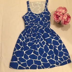 Susana Monaco blue Giraffe print dress
